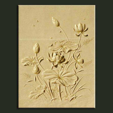 Phù điêu hoa sen